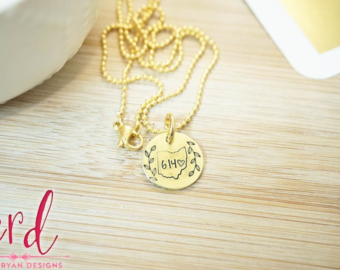 Gold Ohio Area Code Necklace - Ohio Girl Necklace - Ohio City Necklace - Location Jewelry - Ohio State Pride - Hand Stamped Brass Necklace