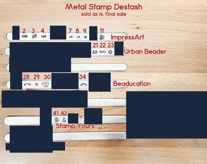 Metal Design Stamps for Jewelry Destash - Beaducation - ImpressArt - Stamp Yours - Urban Beader - Advantage Series