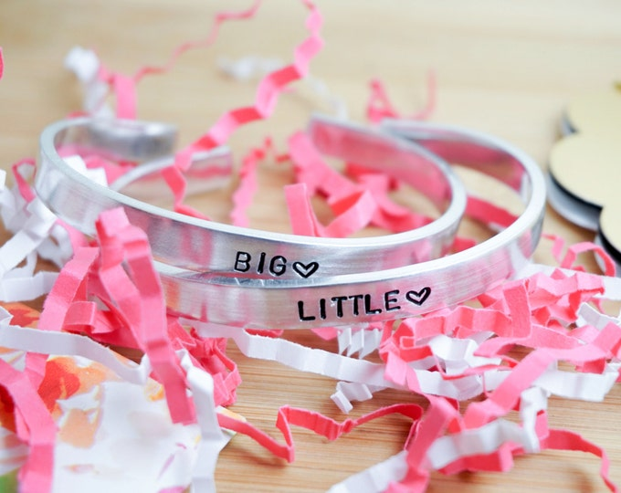 Big Little Sorority Cuff Bracelet Set - Big Little Gift - Big Little Reveal - College Sorority - Hand Stamped Silver Cuff Bracelet