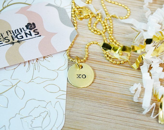 Gold XO Necklace - Anniversary Gift - Gifts for Her - Gifts for Women - Gifts under 25 - Minimalist Jewelry - Hugs and Kisses - Hand Stamped