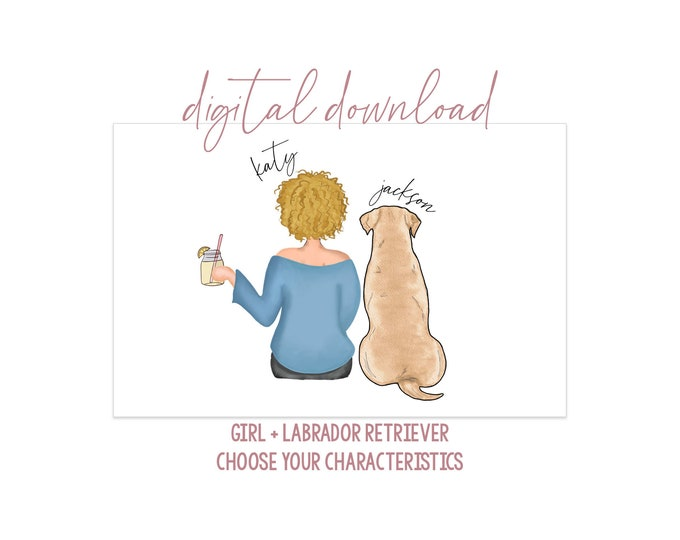 Girl with Labrador Retriever Digital Artwork - Digital Download - Dog Mom Portrait - Dog Portrait - Yellow Chocolate Black Lab