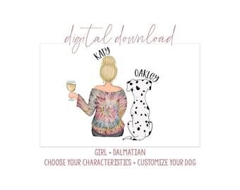 Girl with Golden Doodle Digital Artwork - Digital Download - Personalized Girl with Dog - Dog Mom Gift - Dog Mom Portrait - Dog Portrait