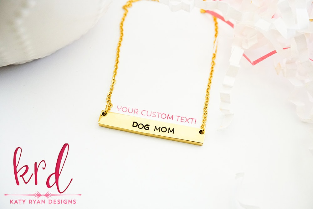 f543be26611a26 ... Custom Hand Stamped Bar Necklace - Silver Gold or Rose Gold Stainless  Steel Bar Necklace. 1