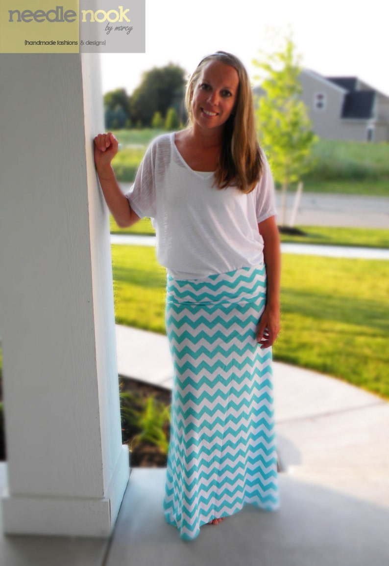 Women/'s Maxi Skirt Jersey Cotton Knit Skirt Custom Made You Chose the Color The PLUS SIZE Chevron Maxi Skirt
