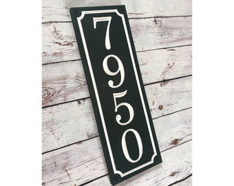 Personalized vertical house number sign, carved PVC address plaque, house number, housewarming gift