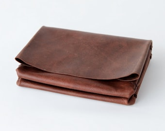 19712998cfea origami wallet - Small Dark brown vintage leather