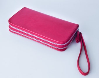 ALL GENUINE LEATHER Wallet Red Leather / tanned leather lining / Ladies Wallet - Genuine leather double zip around wallet with wristband