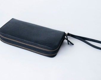 ALL GENUINE LEATHER Wallet Black Leather / tanned leather lining / Ladies Wallet - Genuine leather double zip around wallet with wristband