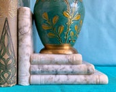 Vintage White Marble Books Bookend Doorstop
