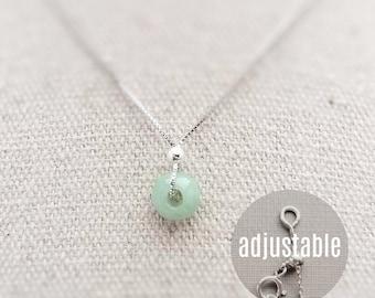 Tiny Burmese Jade Necklace for Women Green Jade Necklace