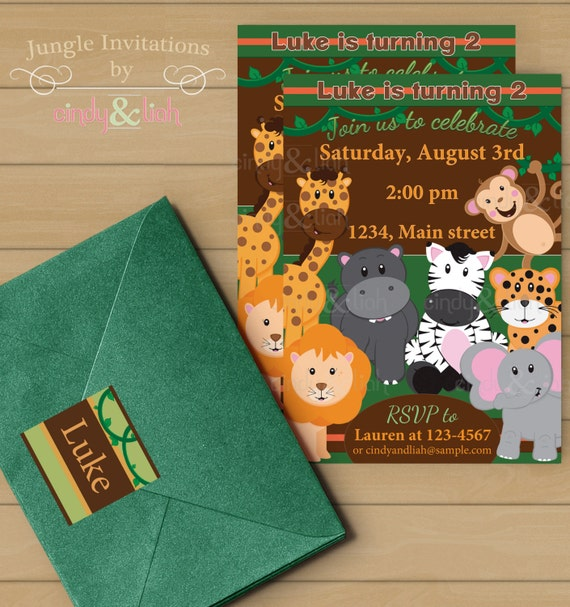 jungle birthday invitation address labels and envelope seal set