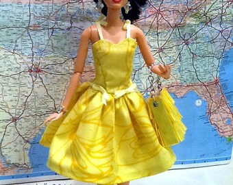 Yellow Sundress and Tote for One Sixth Fashion Dolls