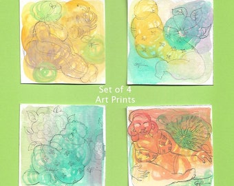 3x3 Big Mama Art Prints,  Body Positive,  Watercolor Paintings, Small Art Prints