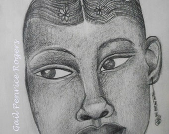 "Pencil Portraits ""Ayo"" , Beautiful Black Girl, Graphite Drawings by Gail Penrice Rogers, Portrait Art"