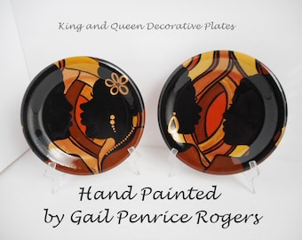 """Couple In Love """"King and Queen"""" Hand Painted Decorative Plates, Afrocentric Wedding Gifts, Gail Penrice Rogers"""