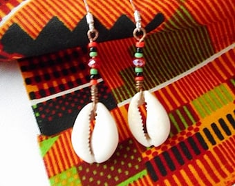 Afrocentric Cowrie Shell Earrings, Kwanzaa Gifts Under 20, Jewelry Accessories