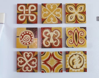 Adinkra  (Set of 3) 4.5x4.5in Ghanaian Symbols Paintings, Unique Gifts Under 160, Afrocentric Home Décor, Hand Painted Wood