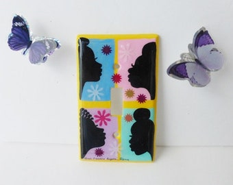 Hand Painted Light Switch Plates Afrocentric Home Accents Beautiful Black Women Silhouettes