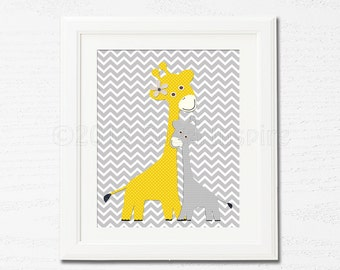 Yellow and grey giraffe Nursery Art,  nursery room decor,  8x10, kids room decor, nursery wall decor, chevron, baby giraffe