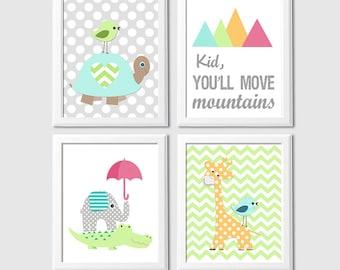 Aqua, green and orange Nursery Art Print Set, Baby/Children Wall Art, jungle friends, elephant, giraffe, crocodile, turtle -UNFRAMED