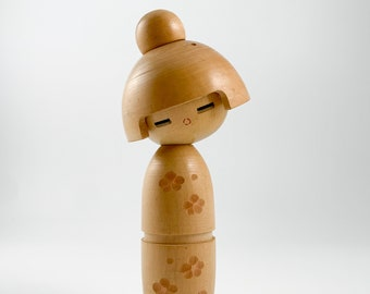 Kokeshi. Elegant! Woodgrain Sosaku Kokeshi. Vintage Japanese Kokeshi. Japanese Doll. Vintage Kokeshi Doll. Handmade Wooden Doll.
