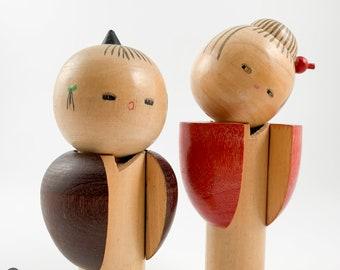 Kokeshi. CHARMING!! Vintage Kokeshi Doll Pair. Sosaku Kokeshi Doll. Modern. Japanese Doll. Japanese Wooden Dolls.
