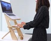 Modern wood standing desk, scaffolding desk, work station, modern desk, desk converter, laptop stand