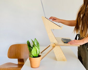 Modern wood standing desk, scaffolding desk, work station, modern desk, desk converter, laptop stand, ALTO STAND