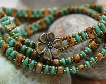 Trendy Brick Bead and SuperDuo Multi Wrap Bracelet; Stack Bracelet; Bead Weaving; SuperDuo Bracelet; Seed Bead Bracelet; Wrap Bracelet RC100
