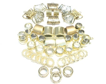 Wholesale Scarf Jewelry Gold Mix 50pcs Scarf Bails   Scarf Rings For DIY  Necklace Scarves 2e87f14f8568e