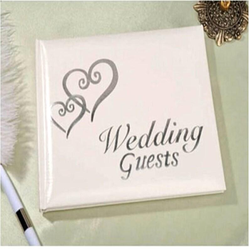 Wedding Guest Book Heart Golden Silver Registry Book