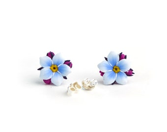 b4134214a Sterling silver and polymer clay realistic blue forget-me-not flowers; stud  earrings