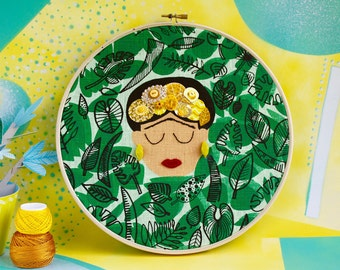 Frida portrait with yellow flower crown on greenery leaves with red lips - original Frida Kahlo artwork - embroidery / hand printed fabric