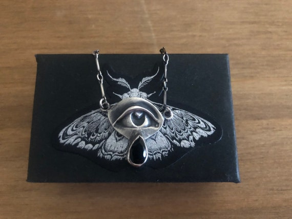 Onyx Mourning Eye Sterling Necklace ~