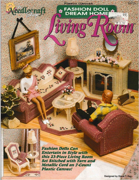 DIGITAL DOWNLOAD Barbie Fashion Doll Living Room Plastic Canvas Pattern  Booklet
