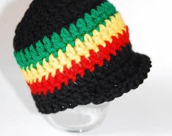 a774c3b9b35 CHOOSE SIZE - Rasta Reggae Baby Brim Hat 0-3mo