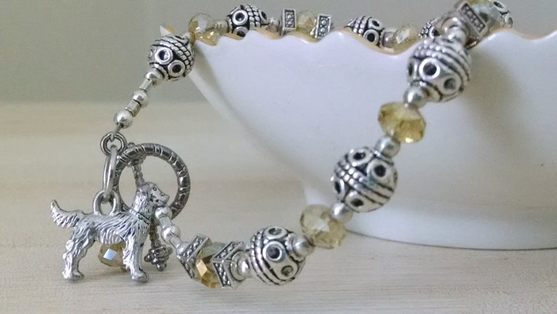 Golden Retriever Charm Bracelet Jewelry Sterling Silver Handmade Dog Charm Brace