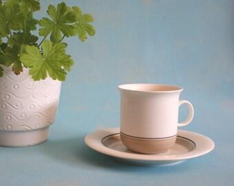 Arabia Arctica Seita 5 cups and saucers design by Inkeri Leivo seventies Scandinavian design Finland vintage