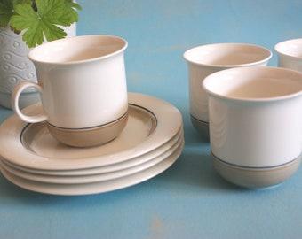 Arabia Arctica Seita 4 cups and saucers design by Inkeri Leivo seventies Scandinavian design Finland vintage