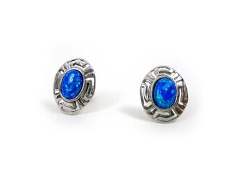 27674dd9b Sterling Silver 925 Greek Earrings , Ancient Greek Eternity Key Oval Fire  Blue Opal Stone Oval Stud Earrings , Griechische Ohrringe Opal