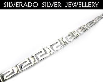 Sterling Silver 925 Greek Bracelet Gradual Eternity Meander Key Bracelet  18.5 cm , Greek Jewelry , Greek Bracelet , Griechisches Armband
