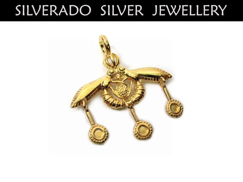 Greek Silver Bees Pendant Greek Pendant Sterling Silver 925 Ancient Greek Minoan Bees Of Malia Goldplated 22K Pendant 28 mm Greek Jewelry