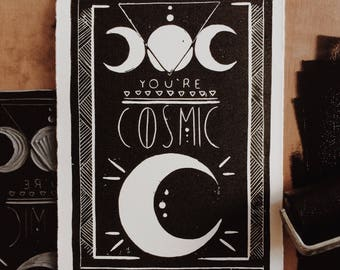 You're Cosmic Block Print - Moon Art | Moon Wall Art | Moon Art Print | Lunar Art Print | Handmade Moon | Art | Moon Print | Lunar Print