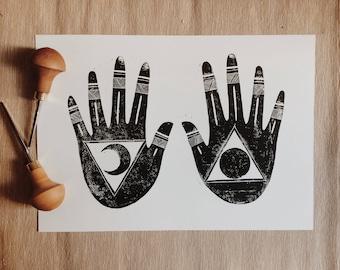 Lunar-Sun Hands Print - Lino | Block Print | Home Decor | Art Print | Handmade | Art