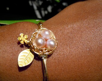 Mothers Day Wire Wrapped Freshwater Pearl Bird Nest Bracelet