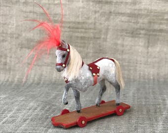 Dollhouse miniature Circus Pony on Wheels