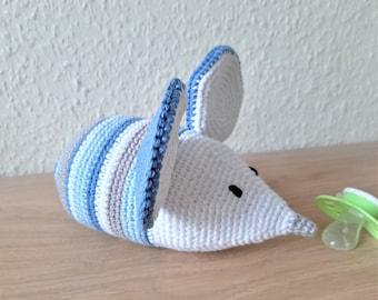 Spieluhr gehäkelt Maus Baby Geschenk zur Geburt personalisiert