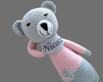 Spieluhr gehäkelt , Geschenk Geburt Baby personalisiert Mädchen