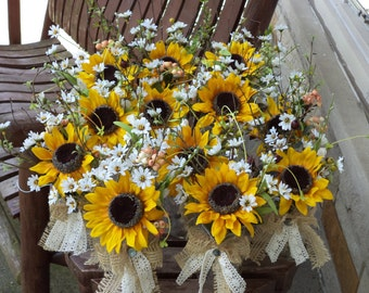 Rustic Sunflower Burlap And Lace Small Table Arrangements Country Wedding Flowers Decor Special Occasions 12 Pcs