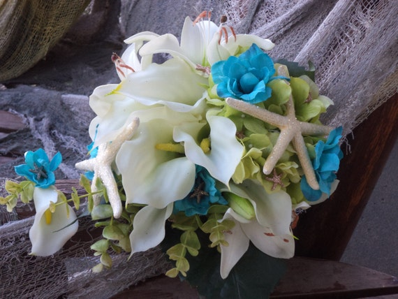 Beach Wedding  Destination  Tropical Flowers  Ivory and Teal Lime Real Touch Silk Bridal Bouquet and Boutonniere  Silk Wedding Flowers